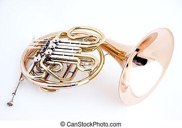 hvid, isoleret, fransk horn