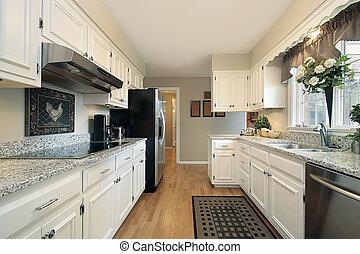hvid, køkken, ind, forstads til hjem