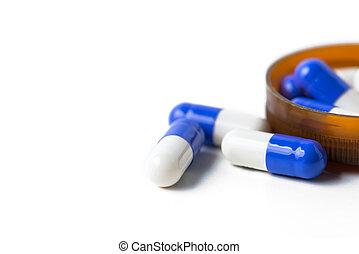 hvid, Kapsler, Isoleret, Baggrund, pillerne