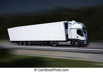 hvid, lastbil, på, higway