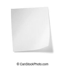 hvid, notere avis, meddelelse, etikette, firma