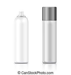 hvid, og, sølv, forstøvningssprøjten, flaske, template.