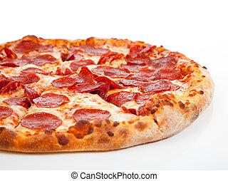 hvid, pepperoni, baggrund, pizza