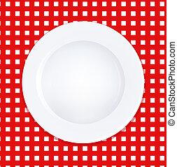 hvid plade, på, checkered tabel klæde
