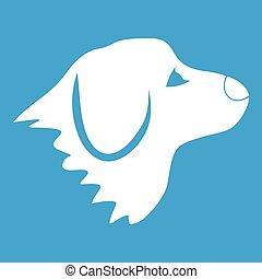 hvid, retriever, hund ikon