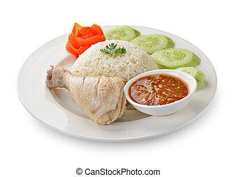 hvid ris, kylling, baggrund, damp