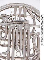 hvid, sølv, isoleret, fransk horn