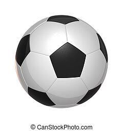 hvid, soccer, isoleret, bold