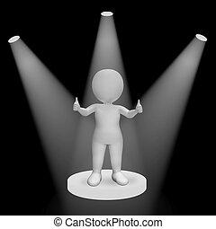 hvid, spotlights, på, tommelfingre oppe, karakter, show, ry,...
