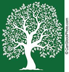 hvid, træ, på, grøn baggrund, 2