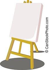 hvid, vektor, illustration, baggrund., staffeli