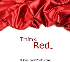 hvidt satin, fabric, imod, rød