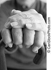 hvil, close-up, stok, gå, gammelagtig, hånd, personer