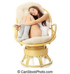 hvil, unge, armchair., kvinde, smukke