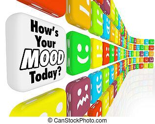 hvordan, er, din, humøret, emotions, følelser, indikator