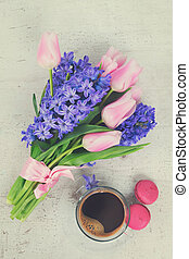 hyacinths and tulips - Pink tulips and blue hyacinths...