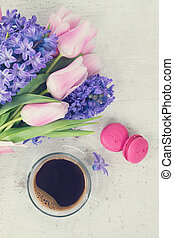 hyacinths and tulips - Pink tulips and blue hyacinths fresh...