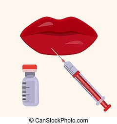 Hyaluronic acid lip injections scheme in iconic style. Vector illustration for infographic inred colours. Medical, cosmetological and anti-aging concept.