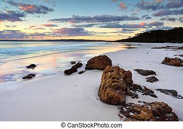 hyams, strand, soluppgång, nsw, australien
