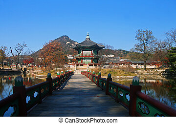 Hyangwonjeong pagoda in the middle of a lake