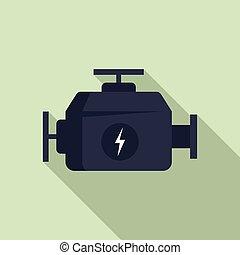 Hybrid car engine icon, flat style