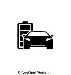 Hybrid Car Flat Vector Icon