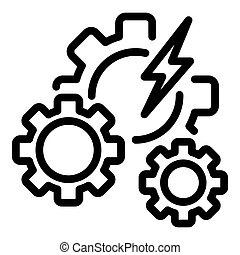 Hybrid car gear system icon, outline style