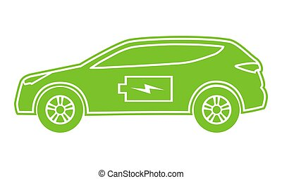Hybrid car green icon. Electric powered environmental vehicle side view. Contour automobile with battery sign.
