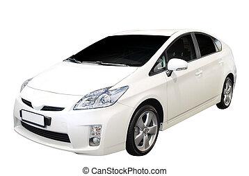 hybrid car - hybrid var isolated on white