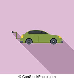 Hybrid car icon, flat style