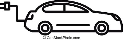 Hybrid car icon, outline style