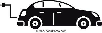 Hybrid car icon, simple style