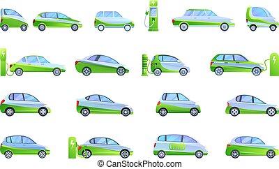Hybrid car icons set, cartoon style