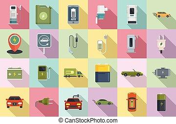 Hybrid car icons set, flat style