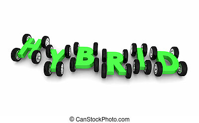 Hybrid Cars Letters Word Alternative Fuel 3d Illustration