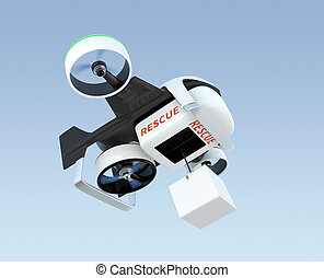 Hybrid drone hovering in the sky, carrying cardboard box...