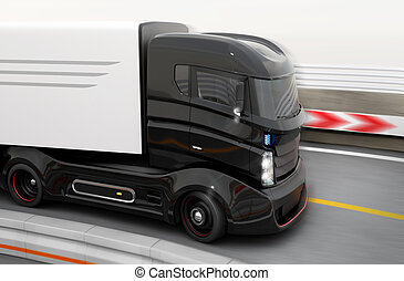 Hybrid truck on highway - Autonomous hybrid truck driving on...