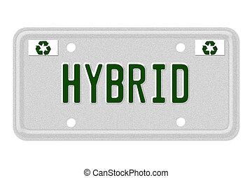 hybride, auto, nummerplaat