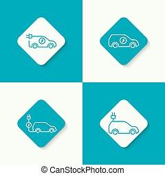 hybride, voiture., icône