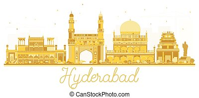 Hyderabad India City skyline golden silhouette.
