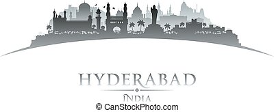 Hyderabad India city skyline silhouette white background -...
