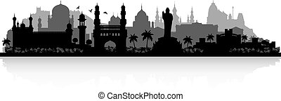 Hyderabad India city skyline silhouette - Hyderabad India...