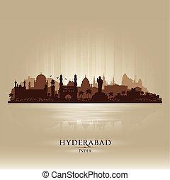 Hyderabad India city skyline vector silhouette illustration
