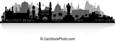 hyderabad, skyline, indien, silhouette, stadt