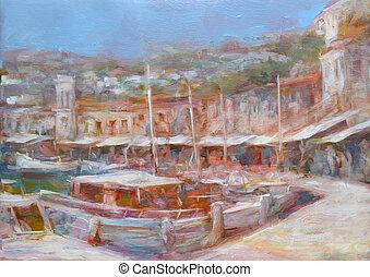 Hydra island, handmade painting - Hydra island, handmade oil...