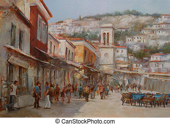 Hydra island,handmade paintings