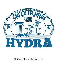Hydra stamp - Greek Islands, Hydra, stamp or label on white...