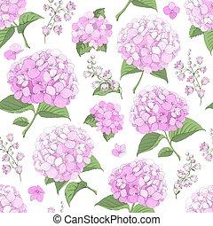hydrangea, flores, seamless, fundo