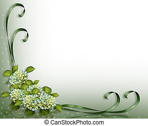 Hydrangea flowers Image and illustration composition for background, invitation or template with copy space.