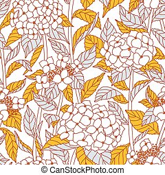 Hydrangea flowers vector seamless pattern